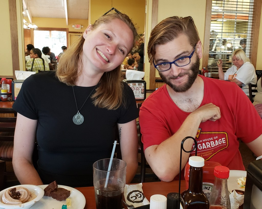 Harriet and Brennan in the Golden Corral in Springfield, MA.
